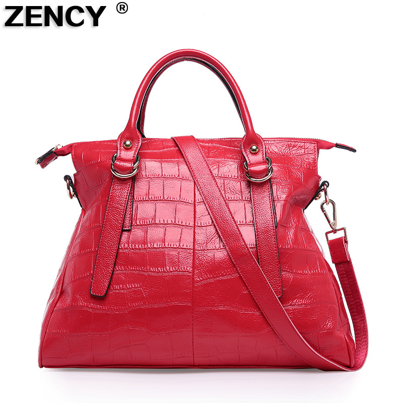 Red Color Large Size Famous Brand Stone Pattern Soft Genuine Cow Leather Women's Handbag Tote Messenger Shoulder Shopping Bag soft nail caps for dog claws brown large size purrdy paws brand