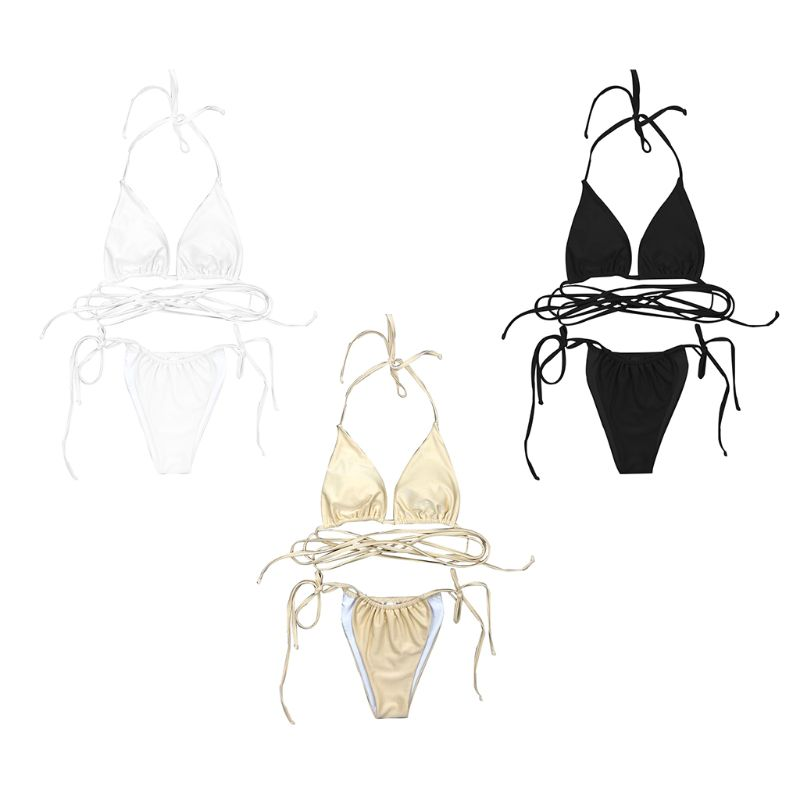 Women Sexy Two Piece Mini Bikini Set Halter V Neck Ruched Triangle Bra Low Waist Side Tie T Back Thong Plain Solid Color Strapp in Bikinis Set from Sports Entertainment