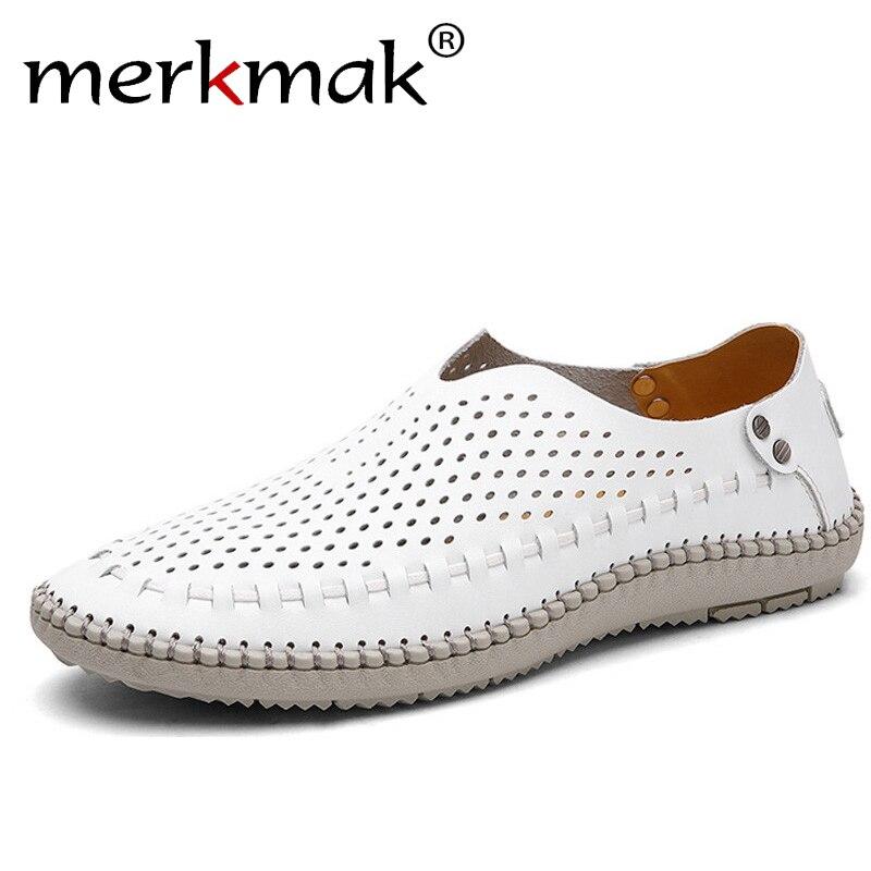Merkmak Marke Sommer Kausalen Schuhe Männer Müßiggänger Echtem Leder Mokassins Männer Fahren Schuhe Hohe Qualität Wohnungen Für Mann größe 39 -46