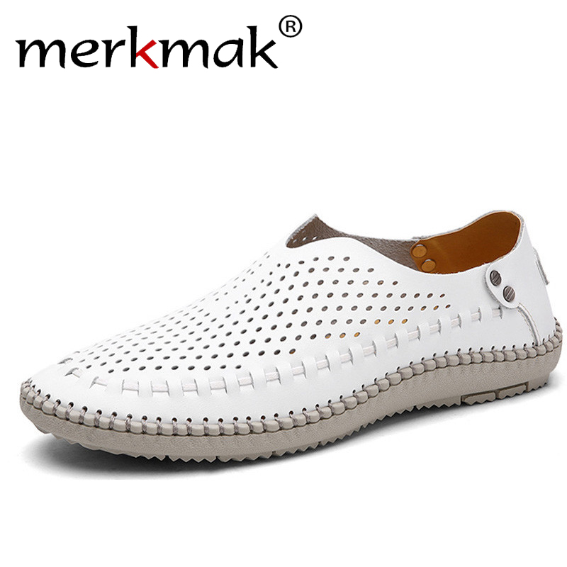 Merkmak Brand Summer Causal Shoes Men Loafers Genuine Leather Moccasins Men Driving Shoes High Quality Flats For Man Size 39-46