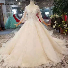LSS254 long sleeve wedding gowns detachable train big round neck sparkly wedding dresses champagne with remove train matrimonio