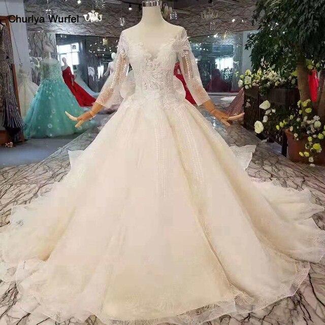 LSS254 فساتين زفاف طويلة الأكمام ذيل قابل للانفصال كبير الرقبة مستديرة سباركلي فساتين الزفاف الشمبانيا مع إزالة قطار matrimonio