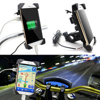Universal Motorcycle Bike Handlebar Rail Mount Phone Holder USB Charger Cell Phone Holder For Honda Yamaha