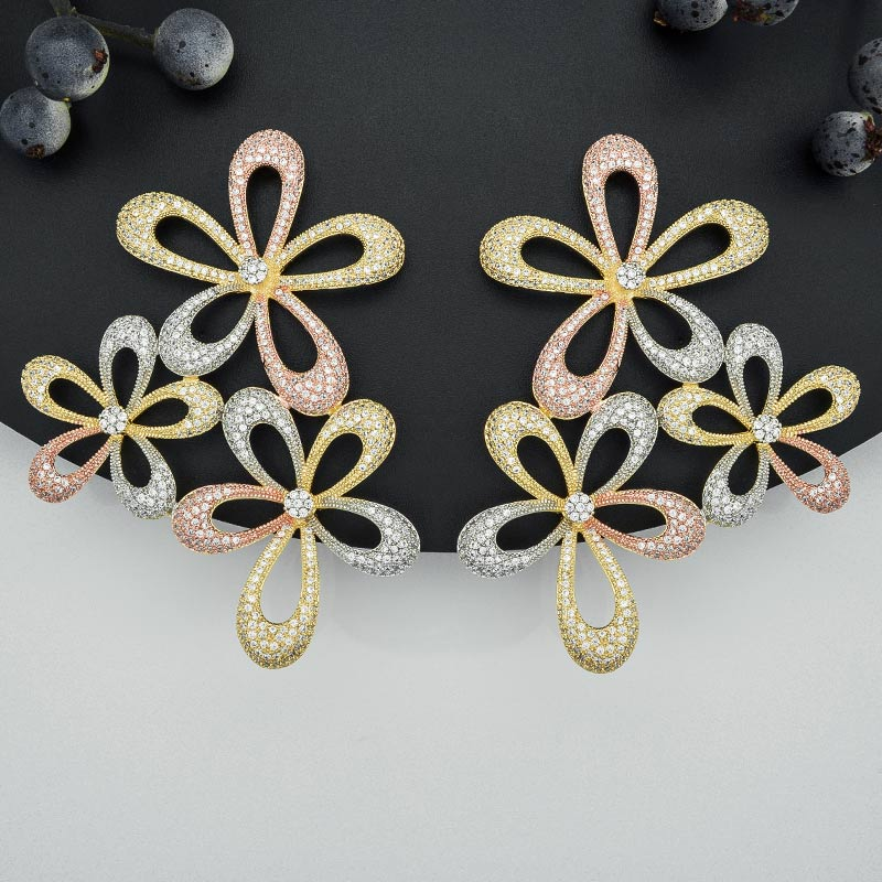 ModemAngel Luxury Big Flower Full Micro Paved Cubic Zircon Copper Women Engagement Wedding Party Fashion Earring