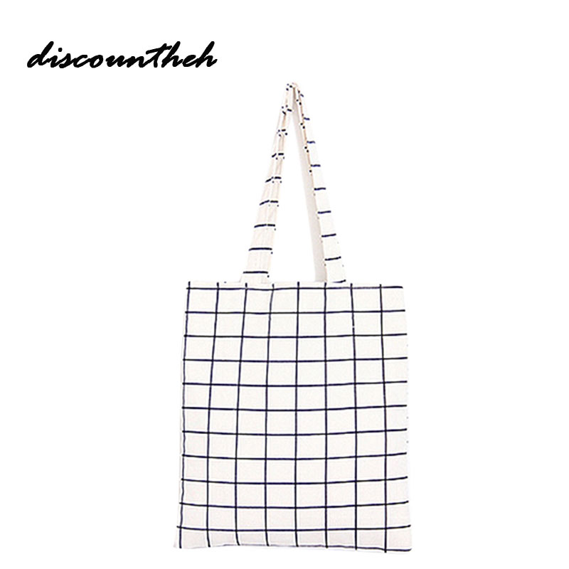 Fashion Female Canvas Beach Bag Plaid Casual Tote Women Canvas Handbag Daily Use Single Shoulder Shopping Bags scione new canvas women bag shopping shoulder bag funny design piano printing handbag beach tote woman canvas hand bags 2pcs set