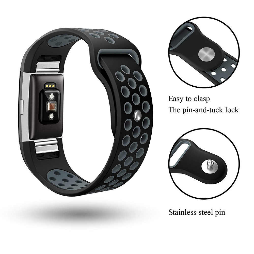 Silicone Sport Bands for Fitbit Charge 2 Breathable Replacement Bands Air  Holes Small M Large Women Men 9 5