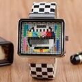 Relógios de Quartzo da forma Especial de TV Sinal de Teste de Design Relógio de Pulso Homens Mulheres Retângulo relógio de Pulso relogio masculino