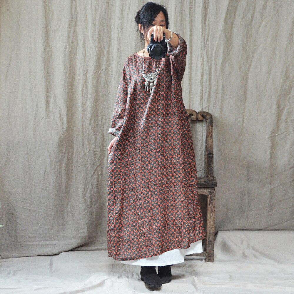 Kadın Giyim'ten Elbiseler'de Kadın Sonbahar Bahar Keten Baskılı Elbise Bayanlar Gevşek Vintage Retro Baskı Artı Boyutu Elbise Kadın Sonbahar Baskı Keten Elbise 2018'da  Grup 2