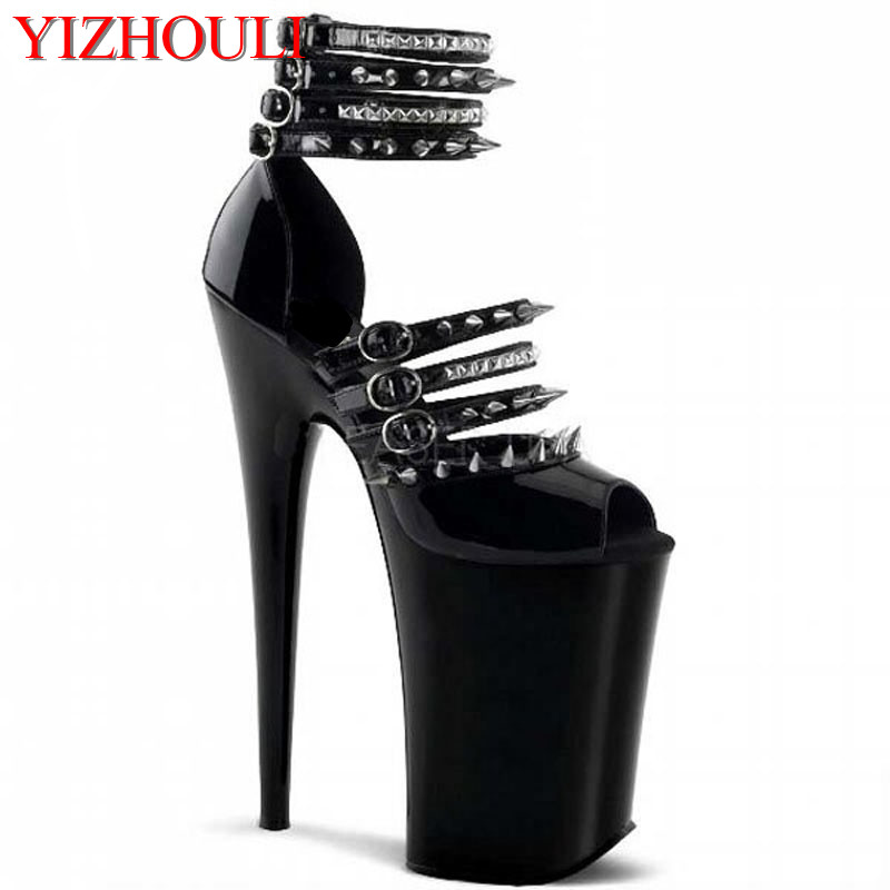 Thin Heel Sandals Ultra High Platform Heels 20cm Pole Dancing Women's Shoes 20cm pole dancing sexy ultra high knee high boots with pure color sexy dancer high heeled lap dancing shoes