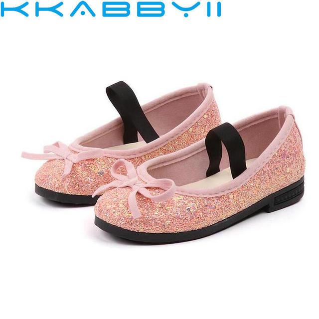 c4027952267 Bebé niño niña rosa plata brillo partido Ballet de moda lentejuelas  muestran lindo princesa vestido zapatos