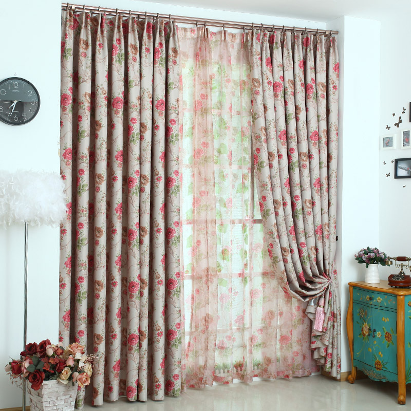 2015 New Romantic French thermal blackout curtains for the bedroom Rose Red  Blue rideaux 043. Red Blackout Curtains Promotion Shop for Promotional Red Blackout