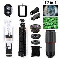 Nowy Aparat lentes Zestaw 8X Zoom Teleobiektyw Fisheye Szeroki Kąt Soczewki Teleskop Obiektyw makro Dla iPhone 5 5S 6 6 s 7 8 Plus Smartphone