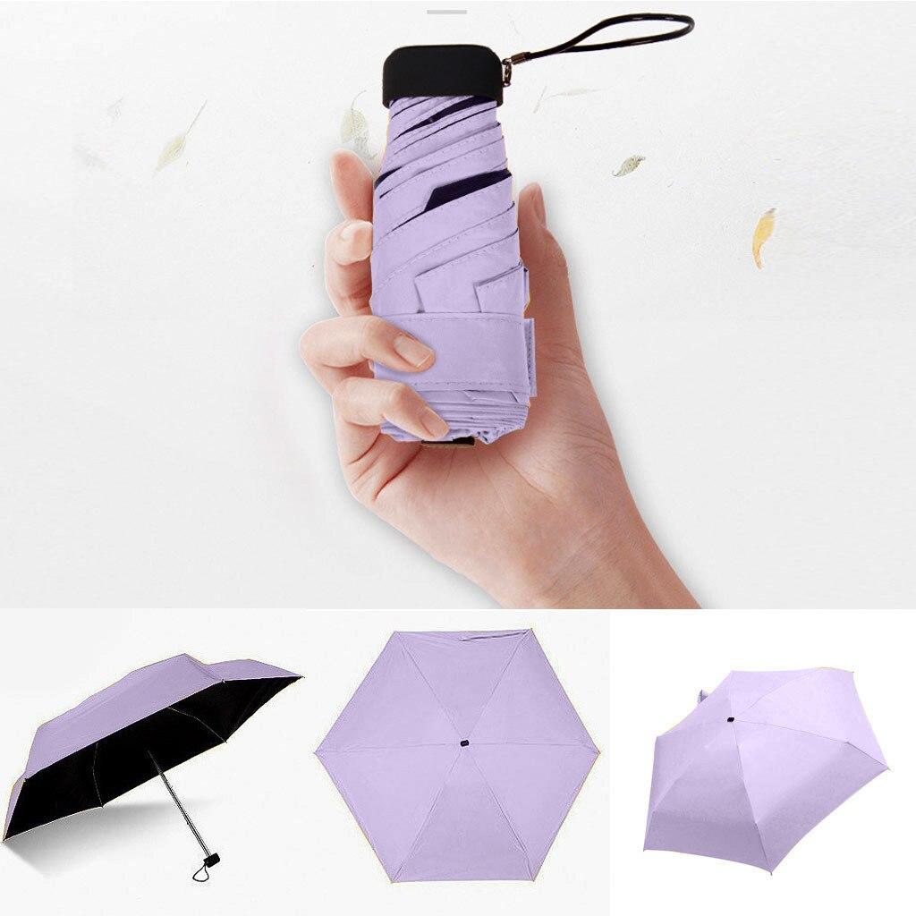 Мини-зонт, женский зонт, 5 раз, плоский светильник, Сумка с карманом и ультра-светильник, зонт, складной солнцезащитный зонтик, зонты Y1 - Цвет: Purple
