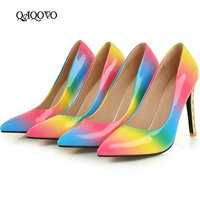 Women's High Heels Shoes Fashion Patent Leather Rainbow High Heels Pointed Toe Party Pumps Spring Autumn Shoes Woman Pink Blue