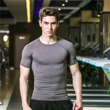 Fashion T-shirt Classic Compression Tight Fitness T Shirt Short Sleeve Pure Color Jogging Bodybuilding Boy Base Layer Grey