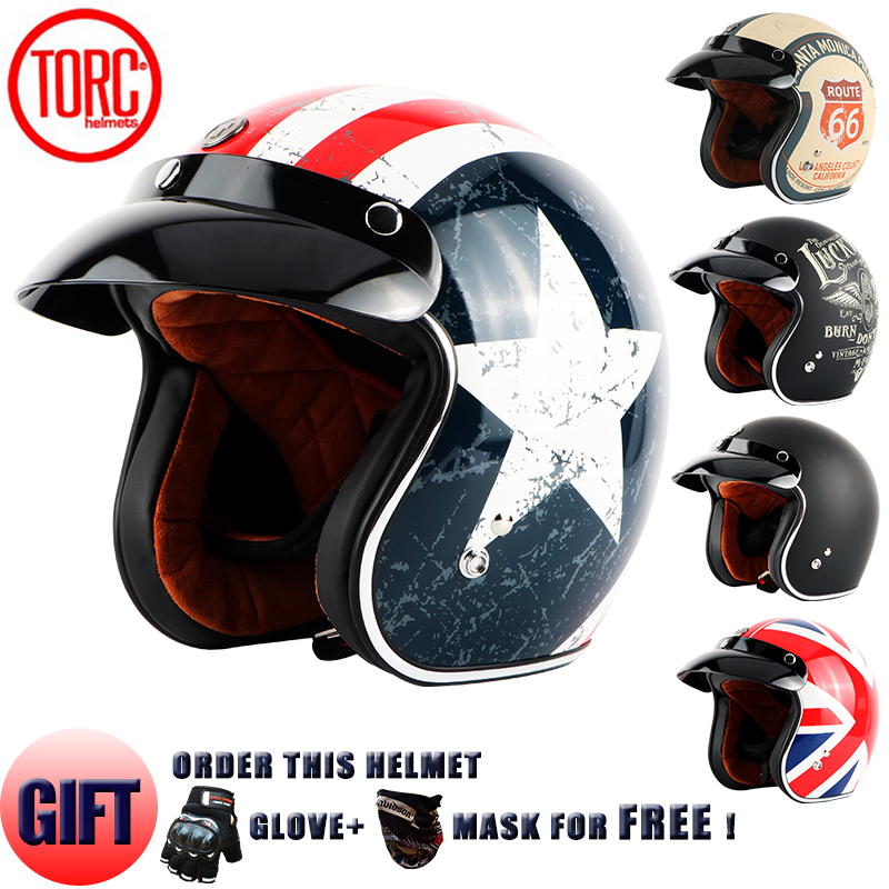TORC Motocykl otevřená obličejová helma Classic Vintage trysková helma Retro Motocyklová helma capacete motoqueiro ew casco moto DOT T50
