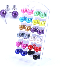 Factory Hot Selling Cheap 8mm Resin Plastic Ball Imitation Pearl Iron Stick Stud Earrings Fashion Jewelry 12pairs/lot