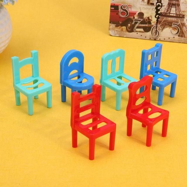 Hollow Geometric Chairs For Doll House 6 pcs Set