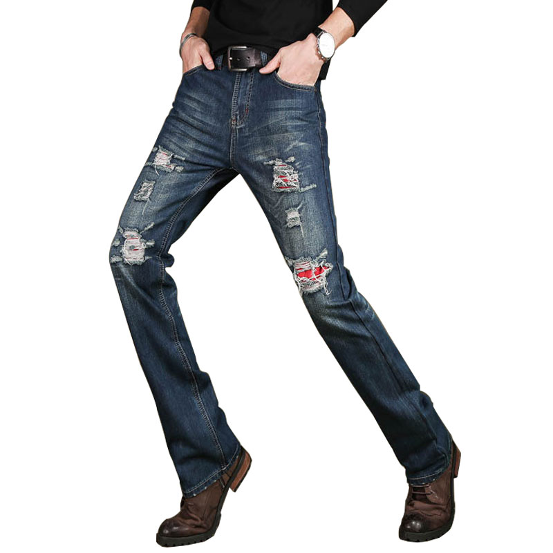 Jeans Male Flares-Pants Trousers Boot-Cut Blue Casual Men's High-Quality Denim Business Size 28-38