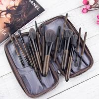 2019 Anmor New Arrival 15PCS Soft Make Up Brushes High Quality Foundation Eyeshadow Eyebrow Brush with PU Leather Bag Brochas