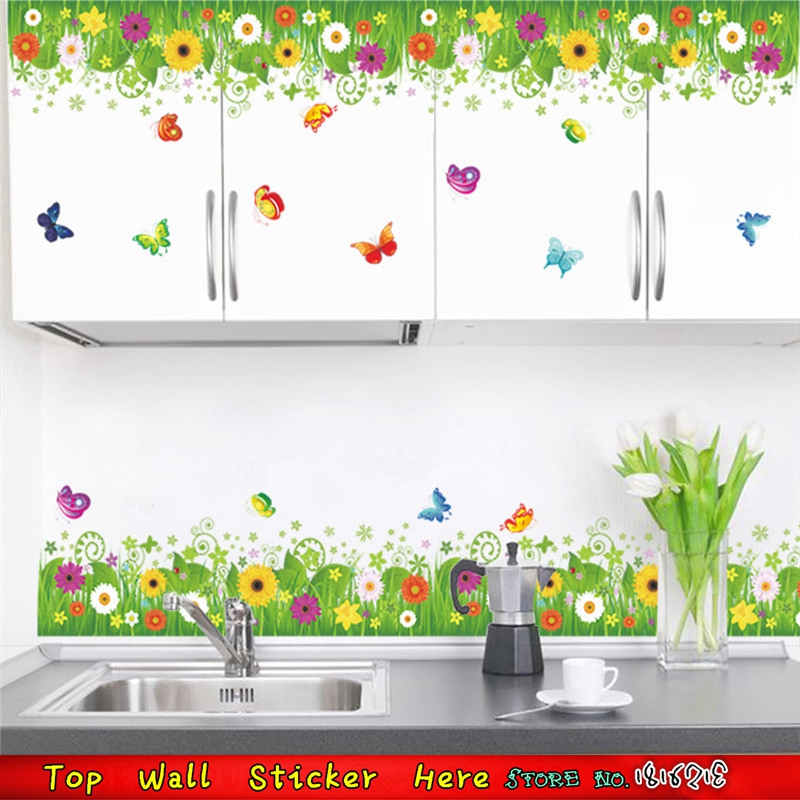 Diy Home Living Room Bedroom Kitchen Decor Colorful Flower Grass Butterfly Wall Decals Baseboard Wardrobe Cupboard