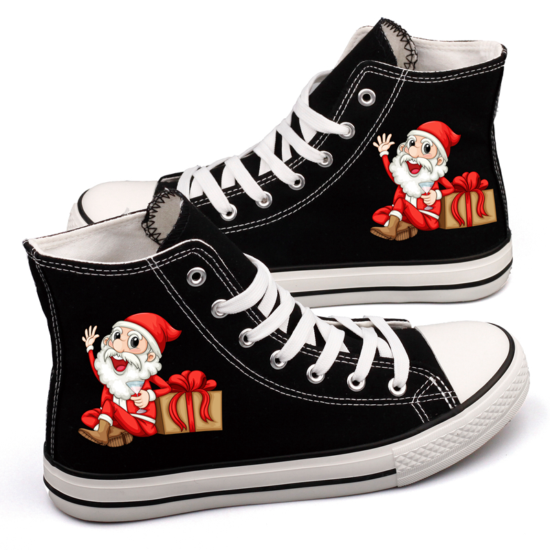 High Top Women Flat Canvas Shoes Cartoon Santa Claus Christmas Reindeer Printed Casual Walking Shoes Adults Tenis Platform Shoes brand quality the walking dead canvas shoes printed women casual flat shoes diy couples and lovers valentine gifts graffiti shoe