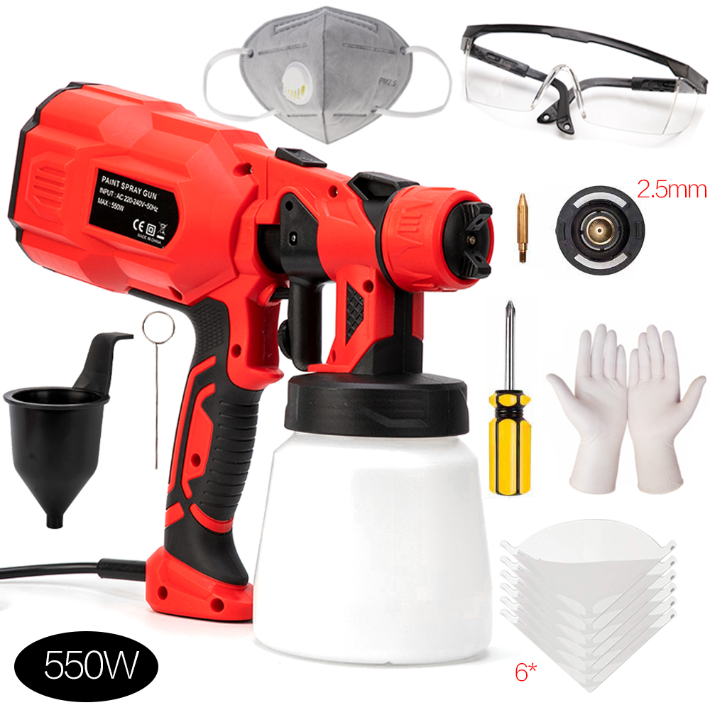 550W 220V 800ML Spray Gun Paint 1.8/2.5MM Nozzle High Power Spay Guns Home Electric Paint Sprayer Easy Spraying Cleanning