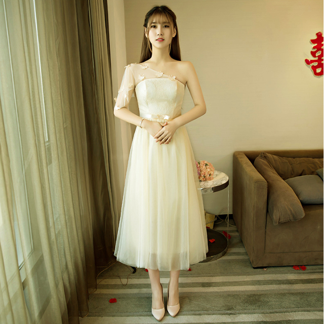 7814ae01c0e beautiful champagne short sexy simply girls pretty 2017 elegant prom dresses  party ball gowns one shoulder under 50 X4031