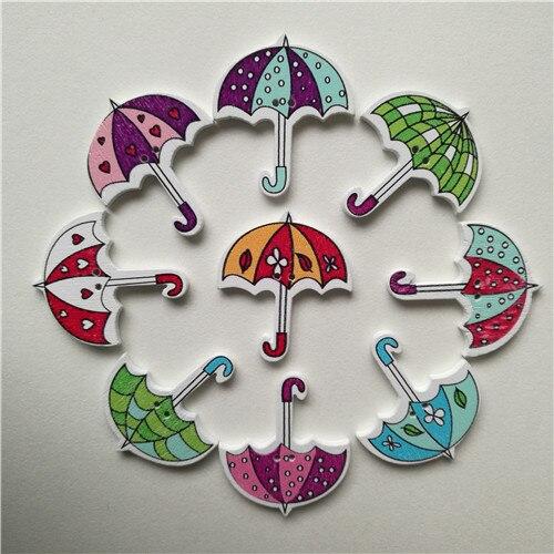 50 шт смешанные животные 2 отверстия деревянные пуговицы для скрапбукинга поделки DIY Детские аксессуары для шитья одежды пуговицы украшения - Цвет: umbrella