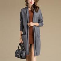 100% кашемировый вязаный женский модный длинный кардиган, свитер пальто осень зима темно серый винный красный черный S 4XL