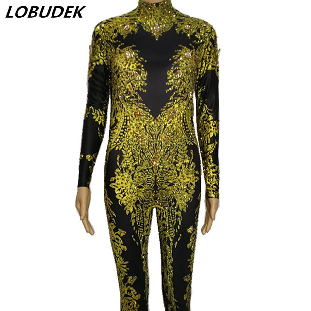 Gold Silvery 3D Printing Jumpsuit Sparkly Crystal stones Bodysuit Jazz Dance Teams Stage Outfit Bar Singer Party Dance Wear