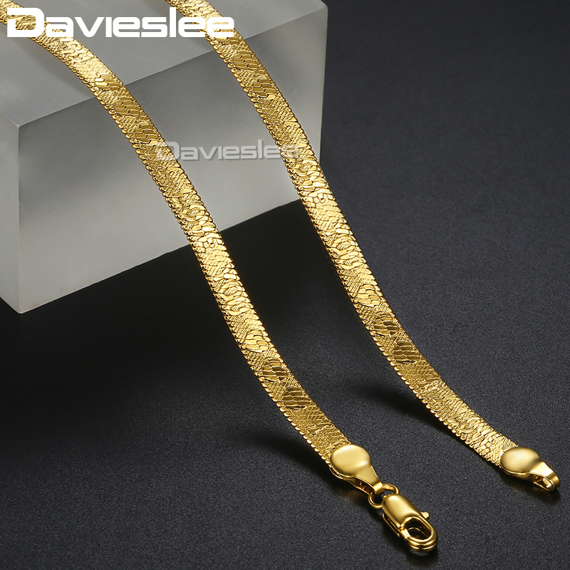 31e82690f6c Davieslee 5mm Necklace for Men Women Chain Snake Herringbone Necklaces Gold  Filled I Love You Pattern