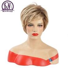 MSWIIGS Dame Kurze Perücken Blonde Synthetische Perücke mit Pony Braun Hitze Beständig Afro Zwei Ton Ombre Haar für Frauen Weiß