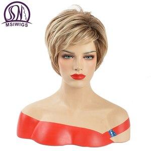 Image 1 - Mswiigs Lady Korte Pruiken Blonde Synthetische Pruik Met Pony Bruin Hittebestendig Afro Two Tone Ombre Hair Voor Vrouwen Wit