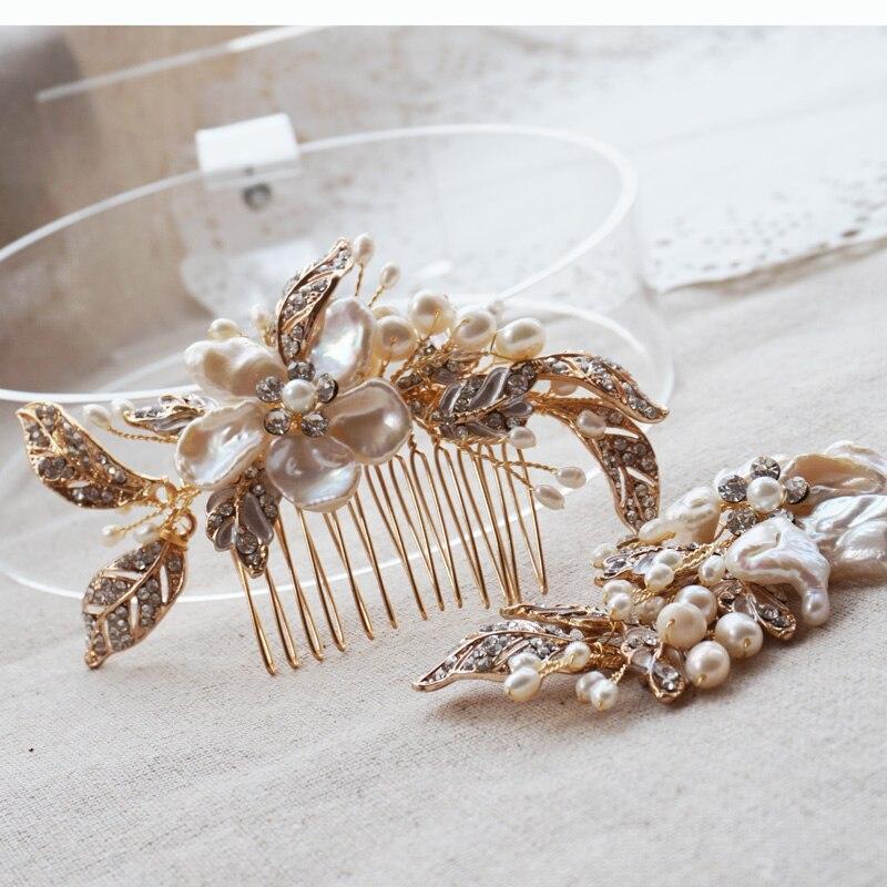 Sladká voda Perla Svatební přilby Květinové Svatební vlasy Hřebenem Korálky vlasy Klipy Pokrývky hlavy Svatební vlasové doplňky