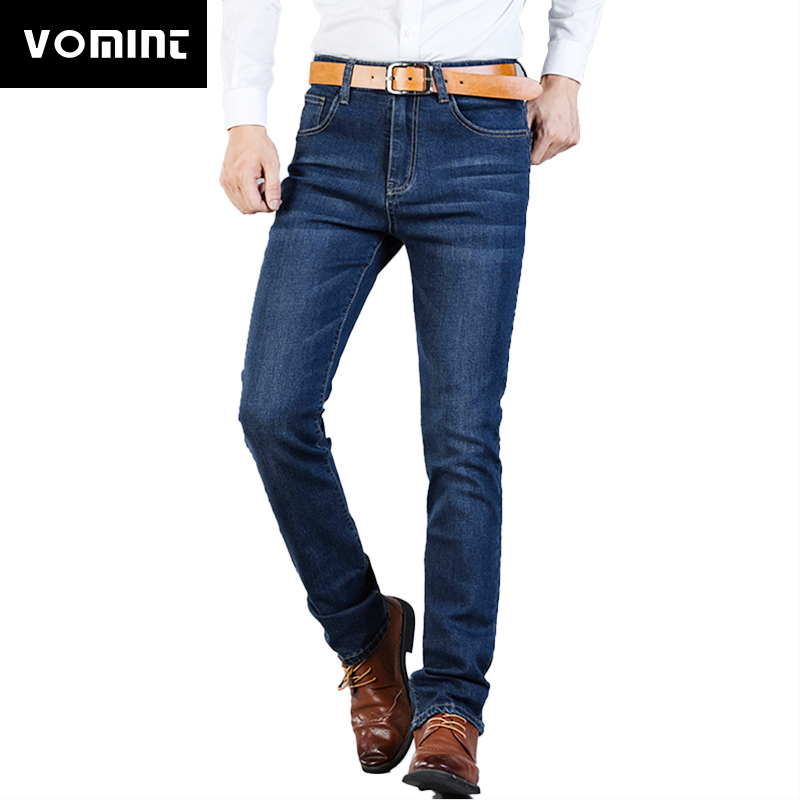 2018 Vomint Brand Fashion Fall Business Casual Men' Jeans High Stretch Black Blue Denim Men Slim Fit Jeans Plus Size 40 42