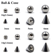 100pcs/lot Steel 14G 16G Nose Piercings Ear Studs Labret Ring Bar Earring Studs Ball&Cone Screw Replacement Attachments Piercing