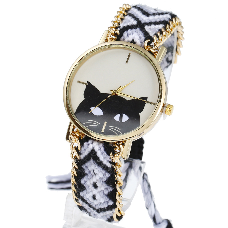 Gnova Platinum Black Cat Face Women Vintage Braided Indian Style Ethnic Hippie Lace Golden Chain Quartz Wristwatch B034