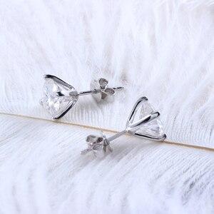 Image 5 - Transgems Solid 14K 585 białe złoto F kolor Moissanite diamentowe kolczyki sztyfty dla kobiet Push Back klasyczne damskie kolczyki złoto