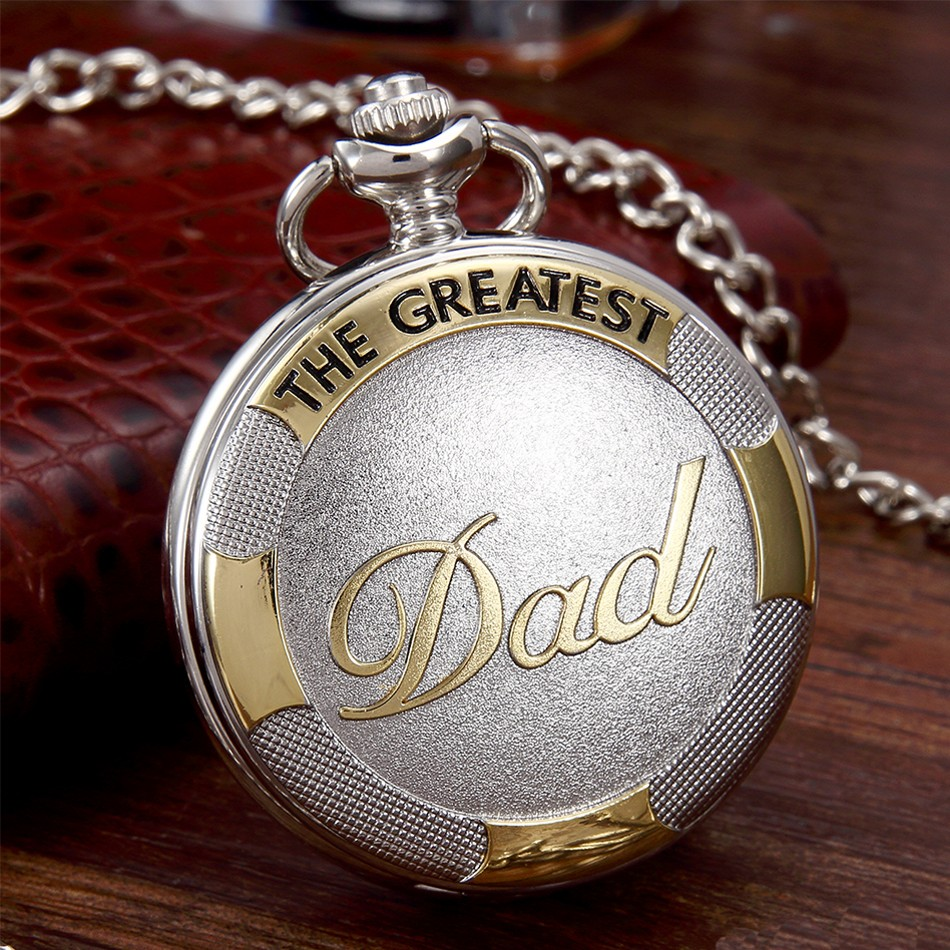 Vintage Dad fob watch with Chain Silver Gold Quartz Pocket Watch mens Father's Day Gifts pendent Watch for men Relogio De Bolso new relogio de bolso carving wolf vintage quartz pocket fob watches pendent chain men women gifts