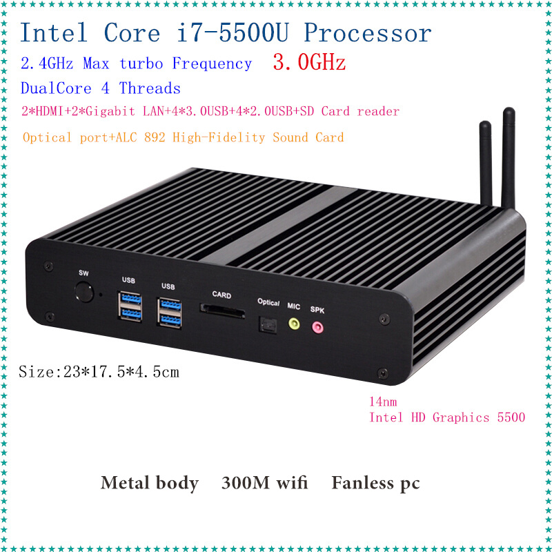 Intel 5th Gen. i7 5500U/5600U CPU Fanless Mini PC i7 Broadwell HTPC Blu ray Micro PC Small Size htpc Graphics HD5500 Computer-in Mini PC from Computer & Office