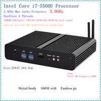 Intel 5th Gen. i7 5500U/5600U CPU Fanless Mini PC i7 Broadwell HTPC Blu-ray Micro PC Small Size htpc Graphics HD5500 Computer