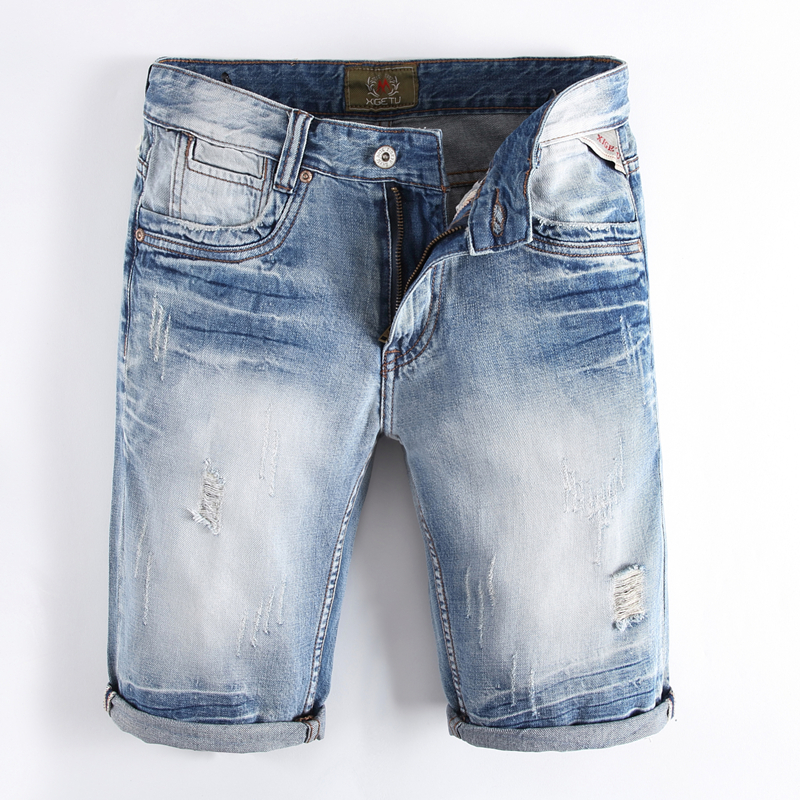 RL114 Solid Light Blue Jeans Shorts Men High Quality Cotton Ripped Denim Short Pants Mid Stripe Knee Length Men`s Jeans Shorts l rl lauren active women s pencil stripe bermuda shorts 14 white turquoise