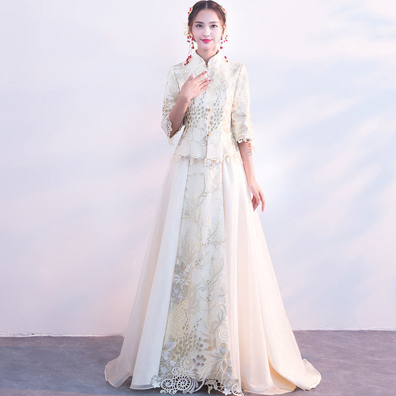 Oriental Female Embroidery Flower Marriage Dress Suit Vintage Cheongsam Exquisite Chinese Women Toast Clothing Evening Gowns