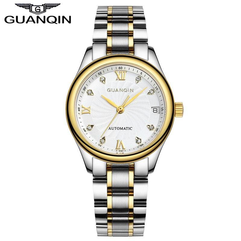 GUANQIN Montres Femmes Montre Mécanique Automatique Diamant Montre Étanche Saphir Dame Montre-Bracelet Femmes Strass Montres
