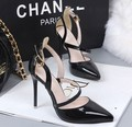Free shipping new word buckle fine with hollow silver mirror patent leather shoes singles pointed high-heeled shoes