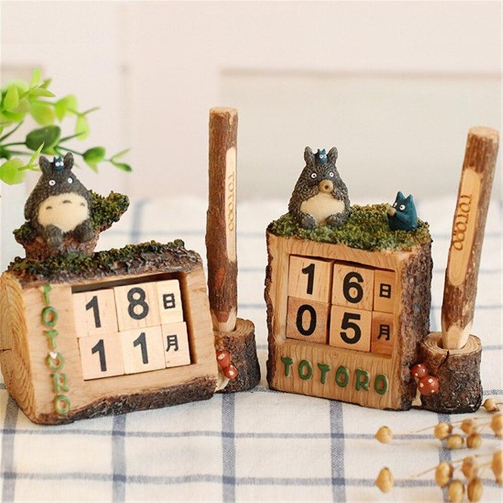 Vintage Mediterranean Style Wood Perpetual  Totoro Calendar DIY Calendar Art Crafts Home Office School Desk Decoration Gifts free shipping factory wholesale european diy arts crafts home decoration rhino wood craft gift desk self build puzzle furniture