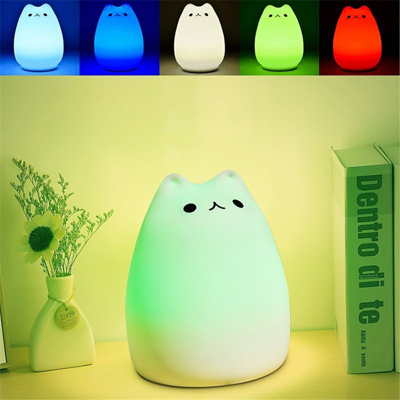 Soft Silicone Cat Toddler Night Light 7 Colors Cat LED USB Nursery Lamp Night Light for Kids Girls Creative Gifts Home Decor