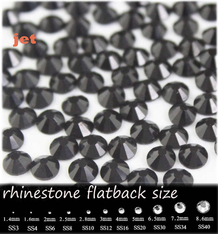 Wholesale SS3-SS20 jet rhinestone for Nail Art Flat back Non Hotfix Glue on  Nail fc0d48a2ee37