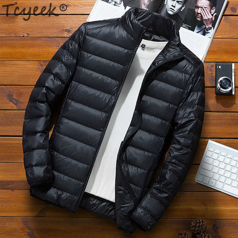 Mens Ultra Light White Duck Down Jacket Winter Thin Warm Outwear Jackets Coats